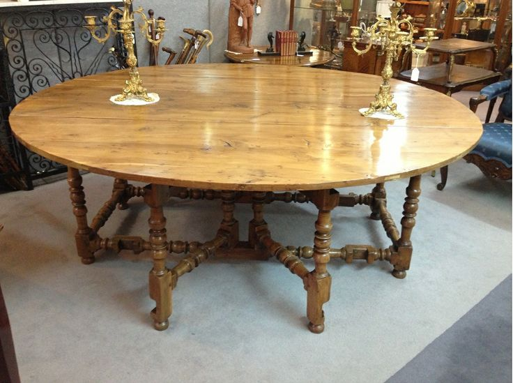 Large Oval Dropside Table in solid Yew Wood