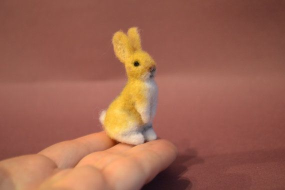 Micro bunny....Felt toy Handmade Doll Soft Sculpture OOAK