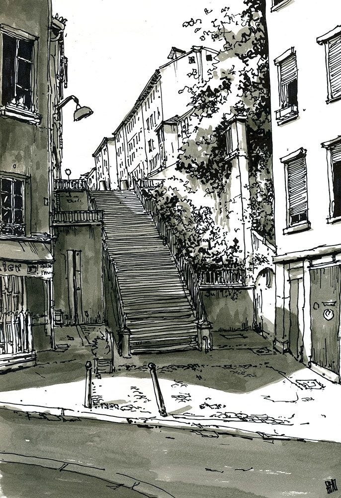 Marker effectively used to portray the dark elements of the drawing, enhancing the effects of the direction of sunlight onto the buildings and the shadows they create.