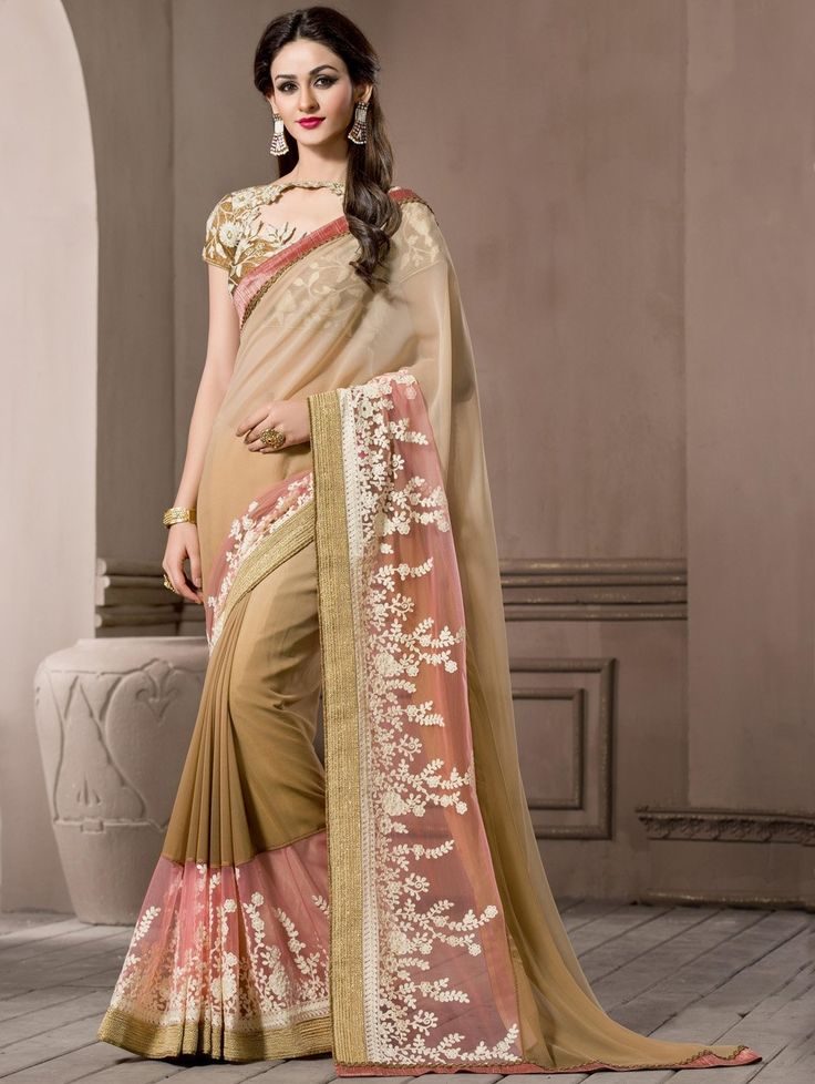 Cream Pure Georgette Saree with Embroidery Work