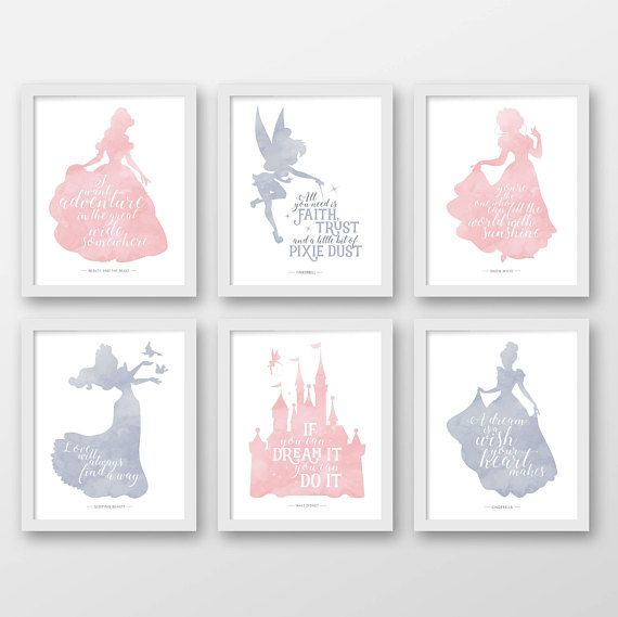 Disney, Satz von sechs, Wanddekoration Disney, Disney-Zitate, Pink, grau, Dumbo, schöne und das Biest, Kinderzimmer, Prinzessin zitiert, Baby, Mädch…