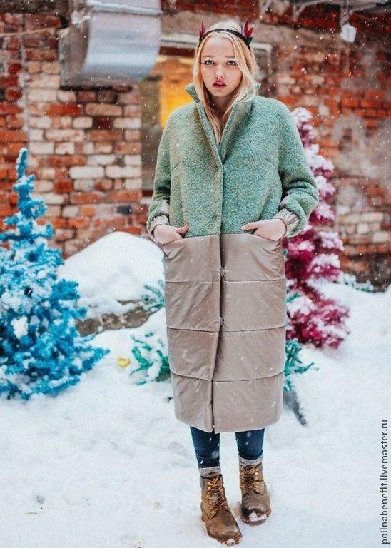 Купить Тёплое пальто в пастэльных оттенках - пальто, пальто женское, пальто из шерсти, пальто демисезонное