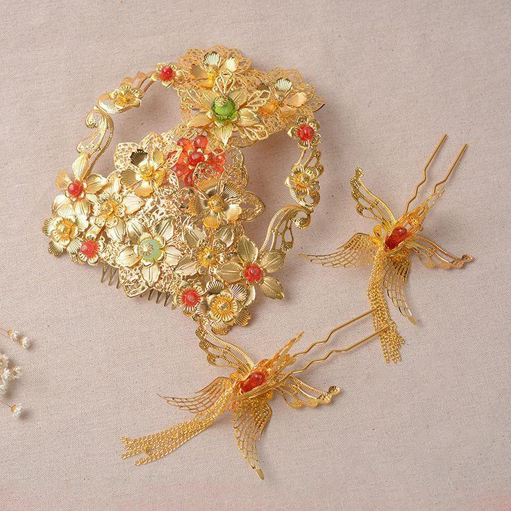 Traje coroa cocar acessórios de noiva cheongsam Chinês Étnico fluxo pente jóias cabelo acessórios vestido de noiva(China (Mainland))