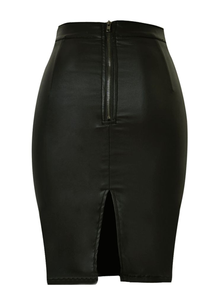 High Waist Faux Leather Skirt With Back Slit_PVC & Leather Lingerie_Lingerie_Sexy Lingeire | Cheap Plus Size Lingerie At Wholesale Price | Feelovely.com