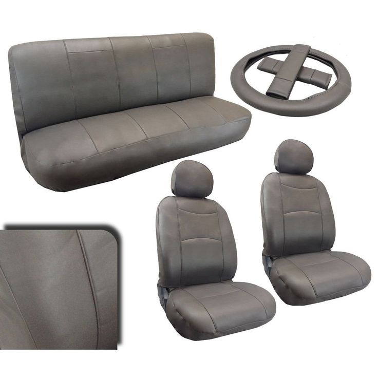 Unique Leatherette Gray Padded Seat Covers Full Set Synth Leather For VWJetta (Color), Grey