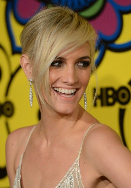 Ashlee Simpson Short Blonde Hairstyle With Long Bangs I