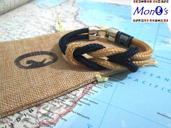 Bracciale con chiusura in Zamak Blue e beige - Nautical bracelet with zama clasp for men.