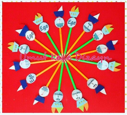 Keçeden kalem süsleri, keçeden kalem, keçeden kapı süsü, keçe hediye, felt, feltro, felting, Turgutreis, Bodrum, umut keçe Dizayn