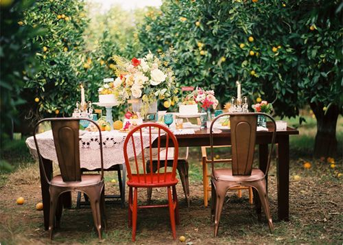 outdoor dinner party + orchard + mismatched + hosting + how to be the hostess with the most-ess