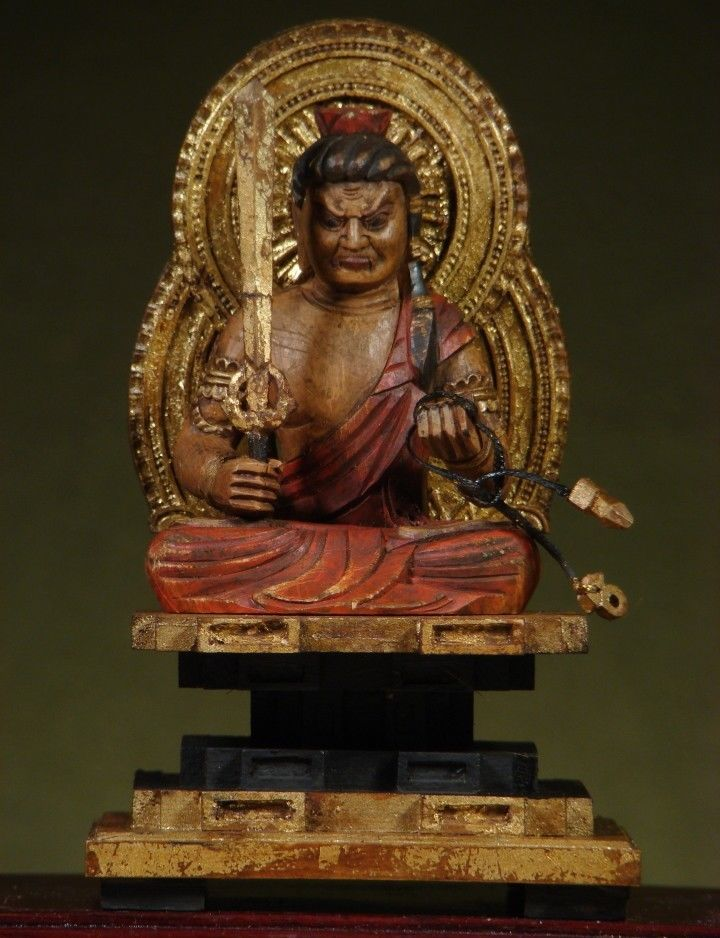 """BUDDHA: Antique Acala / Fudo-Myoo """"The Immovable"""",Gilded & Painted Wood, c1910"""