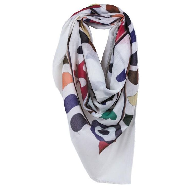 """Fun Print White Square Scarf Frayed Edges Lightweight 30"""" X 30"""" NWT #NorthSouth #Scarf"""