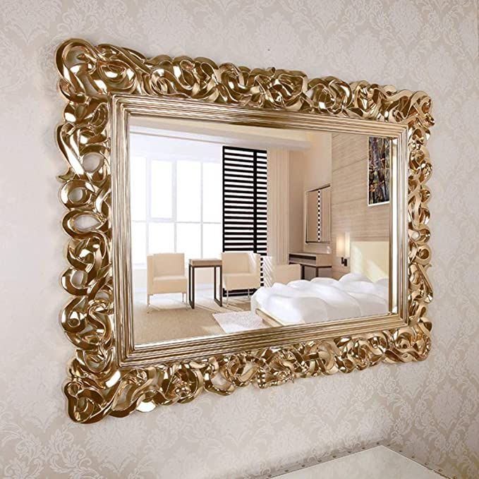 Wall Mirror Large Rectangular Decorative Antique Gold Ornate Baroque Frame Mirror Esed In The Living Room Bedr Living Room Bedroom Baroque Frames Mirror Wall
