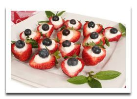 Eaay Red White Blue Appetizers - Strawberries, whipped cream or cream cheese