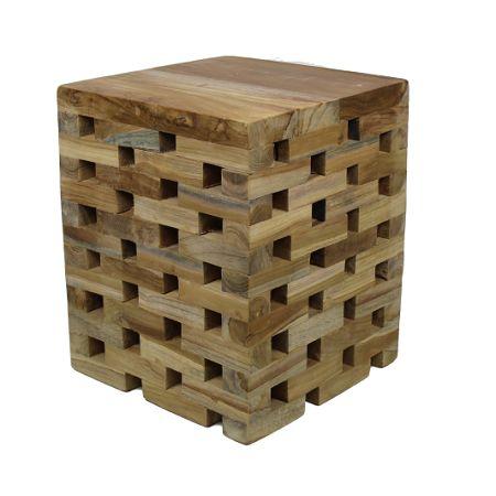 Bijzettafel kruk teak hout. www.blockdesign.nl