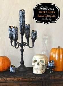 Awesome Halloween kaarsen gemaakt van wc-papier rollen en een lijmpistool!