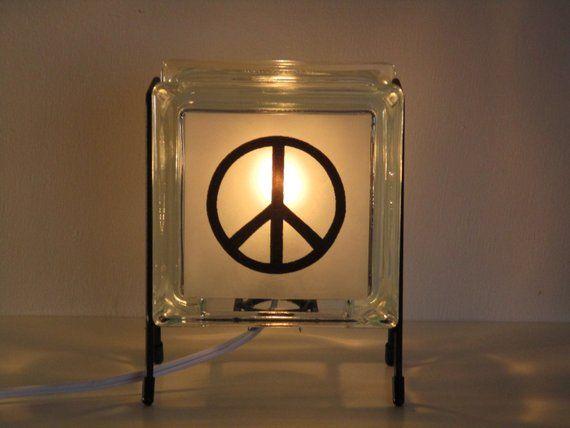 Teeenager Lamp Peace Symbol Lamp Upcycled Handmade Glass Block Lamp Hippie Decor Eco Friendly Peace Symbol 60 S Glass Blo With Images Upcycle Glass Glass Blocks 60 Glass