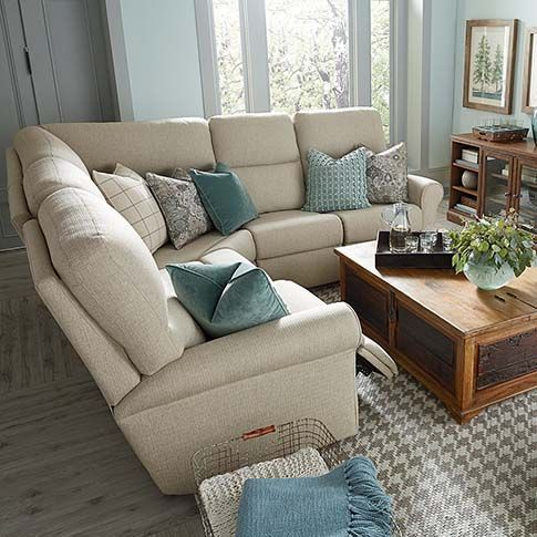 The Bedford L-Shaped Sectional reclining suite  by Bassett Furniture is available if fabric or leather.