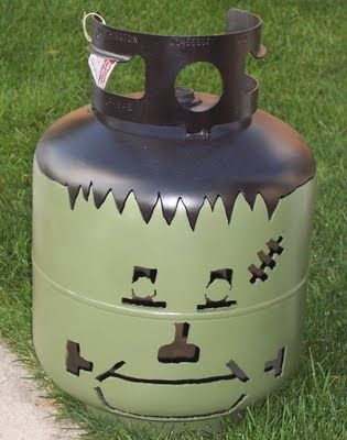 Propane Tank Luminary:  LOVE this for Halloween but might have to go with his snowman for the winter!  http://www.metalimagedesign.com/Recycled%20Propane%20Tank%20Luminaries.html
