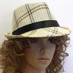 FEDORA IN EARTH TONE PLAID DESIGN Plaid fedoras in earth tone colors provide eye-catching headwear for gals and guys alike.  http://www.awnol.com/store/Hats/Wholesale-Fashion-Hats