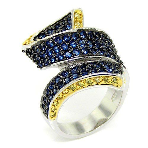 2-tone Curly Ribbon Cocktail Ring w/pavé Blue/Gold CZs http://womensjewelrynews.blogspot.com/2013/11/14k-gold-diamond-jewelry-news.html #14k_Gold #14k_White_Gold #Necklaces #Pendants #jewelry #accessories #Ring #Wedding