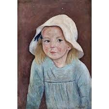 Tadeusz Makowski - Portrait of a girl with white hat