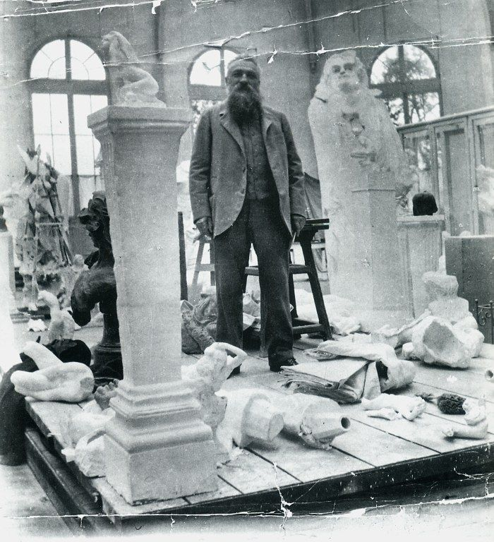Rodin in his studio circa 1906.