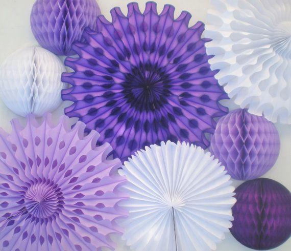 Mauve décor lavande photo blanc, les fans de tissu, boules, pour mariage anniversaire douche ets de nid d'abeilles