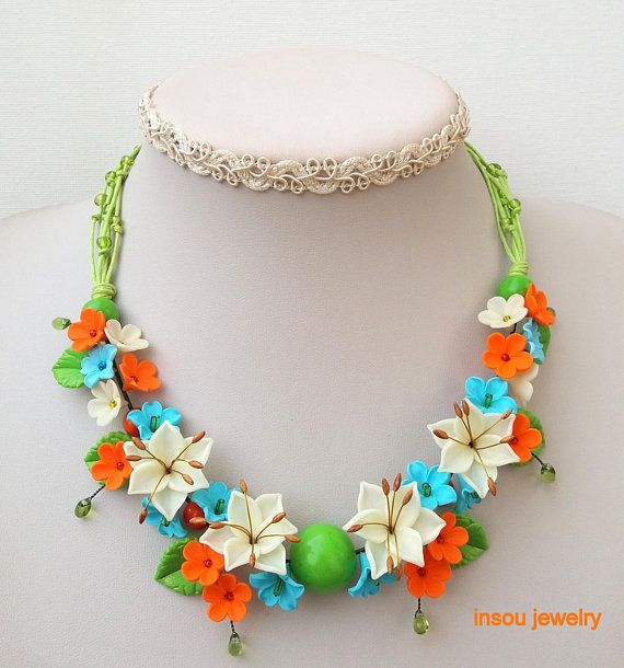 Colorful Jewelry-Night Glow Jewelry-Spring Jewelry,Night Glow,Light Blue and Orange Flower Necklace - Spring Necklace - Fimo Flower Jewelry