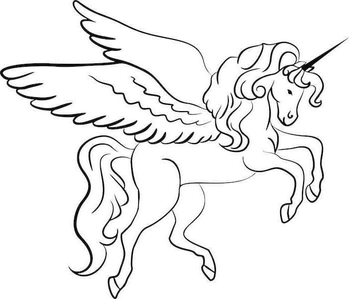 White Background Black Pencil Sketch Of Unicorn With Wings How To Draw A Unicorn Girl Unicorn Coloring Pages Unicorn Pictures Cute Paintings