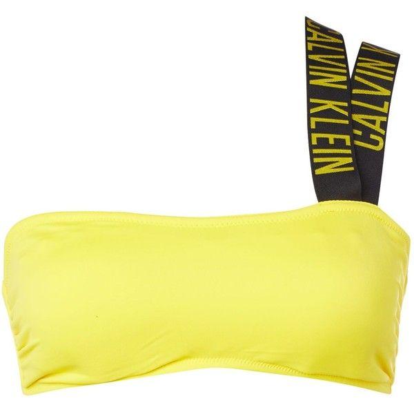 Calvin Klein Intense power V bandeau bikini top ($69) ❤ liked on Polyvore featuring swimwear, bikinis, bikini tops, women, yellow, calvin klein swimwear, yellow bikini, tankini top, swim tops and swimsuit tops
