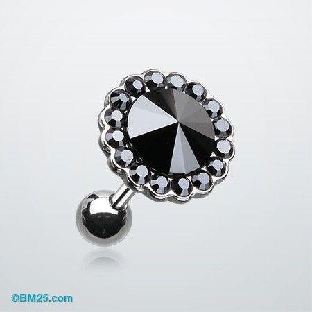 Studded Gem Crystal Cartilage Earring #piercing #tragus #bodymods #fashion #body jewelry