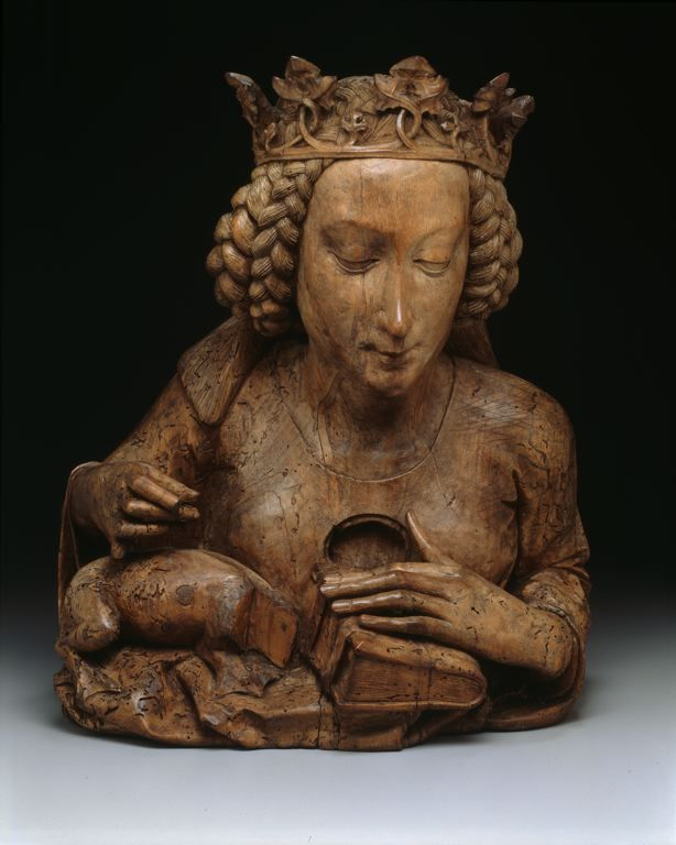 Attributed to Nicolaus Gerhaert von Leyden, Reliquary bust of Saint Margaret of Antioch, 1465-70 (source).spoookyscary:  ...