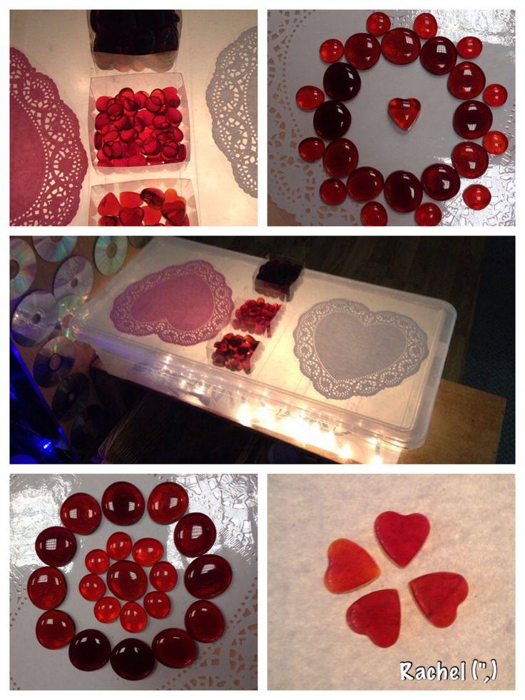 "Heart doilies & glass hearts on the homemade lightbox from Rachel ("",)"