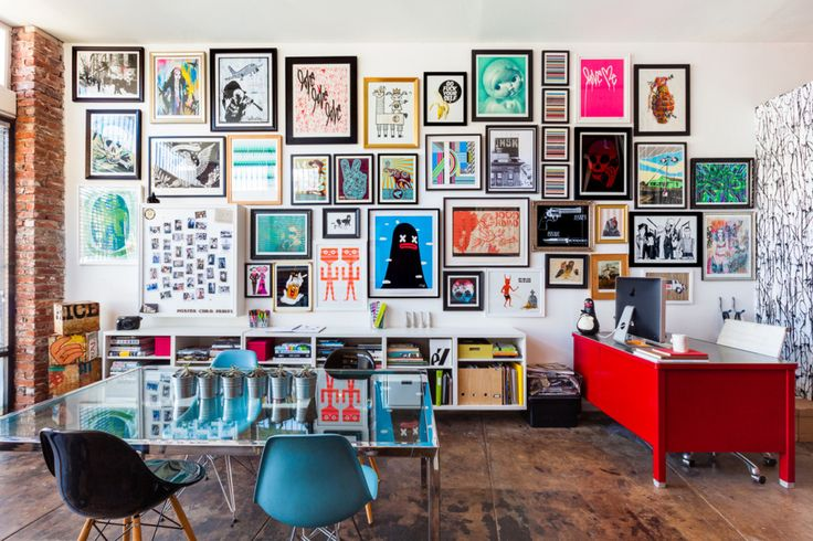 The offices of Sonja Teris of Poster Child Prints. So colorful!
