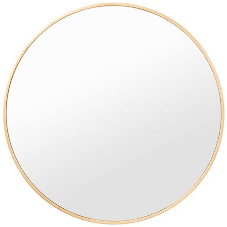 Minimal Round Mirror 80cm  Brass Colour