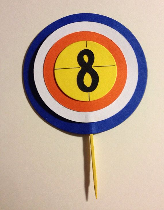Nerf Gun Target Cupcake Topper by CraftyDesignsShop on Etsy. This is cute but I would make with fondant...