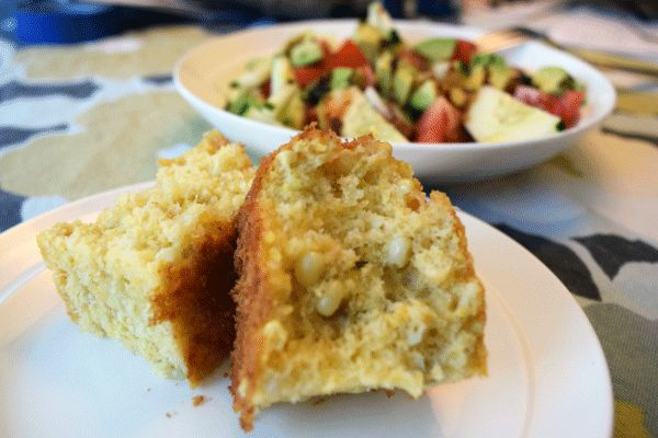 Kick up your cornbread with green chiles, fresh corn kernals, and spicy In Your Face cheddar cheese.