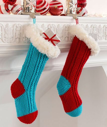 Fur Top Holiday Stockings - free holiday crochet pattern