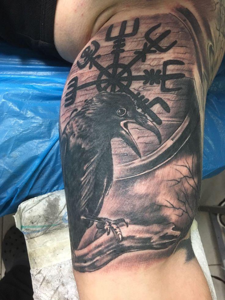 Raven Viking Tattoo: My Left Arm, Raven (Munin) And Vegvisir