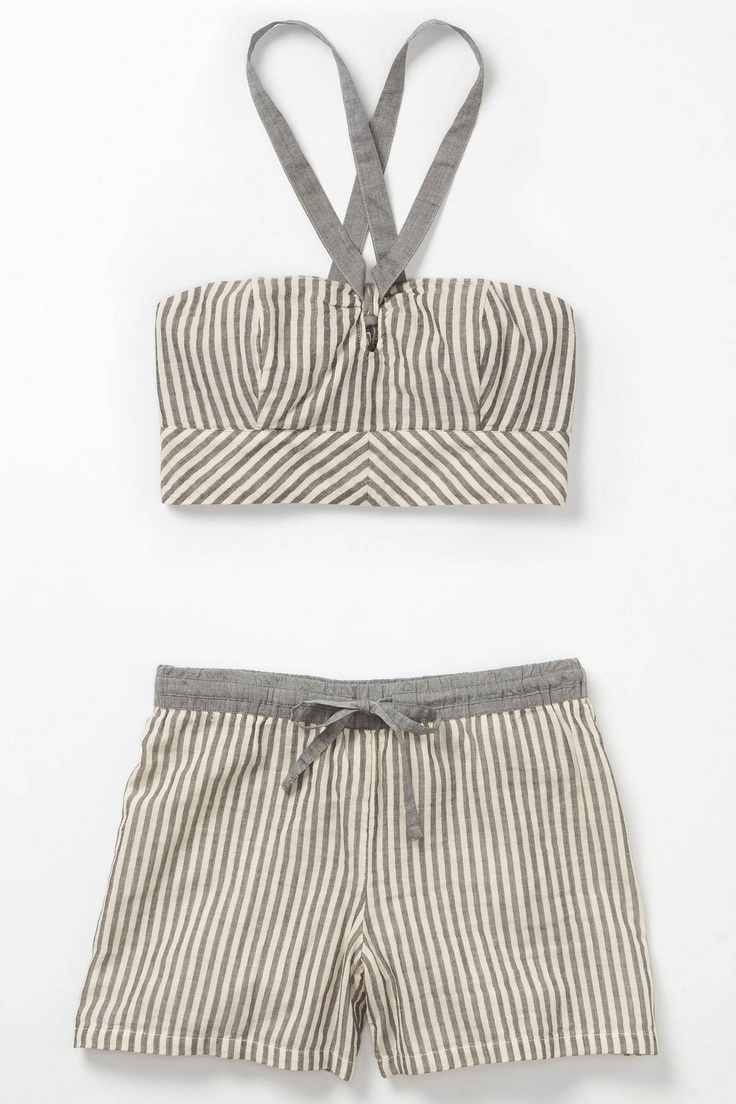 cropped halter and shorts: Pajamas, Sleepy Time, Summer Day, Cute Sleepwear, Dreams Closet, Anthropology Home Style, Grey Stripes, Summer Plays, Hot Summer