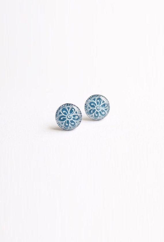 10 mm small studs tiny studs blue stud earrings blue by Kadrizinha
