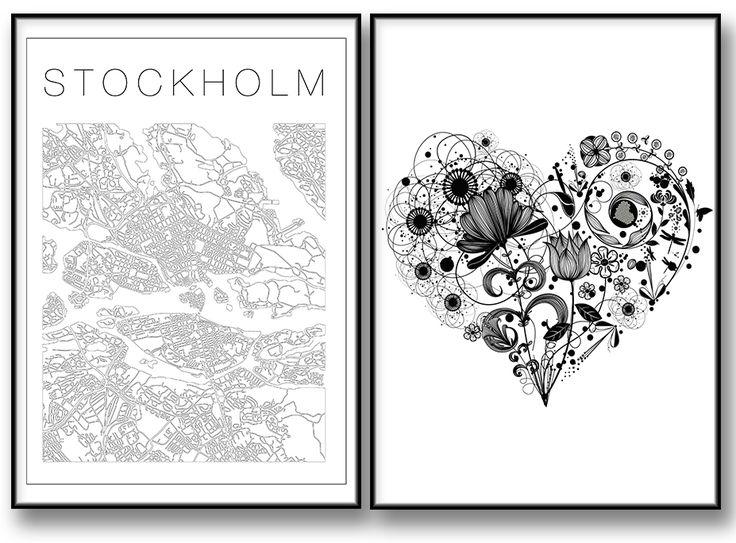 Tavlor med Kärlek Stockholm karta / poster