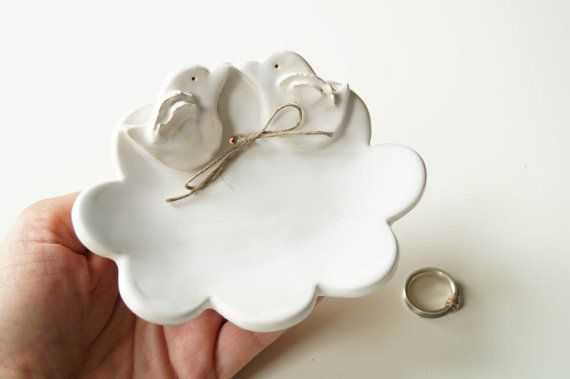 Wedding Ring Plate Bird Plate Cloud Shaped Plate by HerMoments