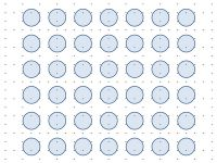 """Ley de proximidad. Se puede hablar de """"tensión"""" entre los elementos que constituyen la imagen como una forma de medida de la proximidad y complejidad de los mismos.  Un conjunto de puntos separados por distancias similares entre ellos tienen la misma tensión visual, impidiendo su diferenciación y agrupación.  Si miramos a una figura en la que los elementos se encuentran """"agrupados"""" en zonas de la misma, los uniremos en un todo más complejo que los contiene."""