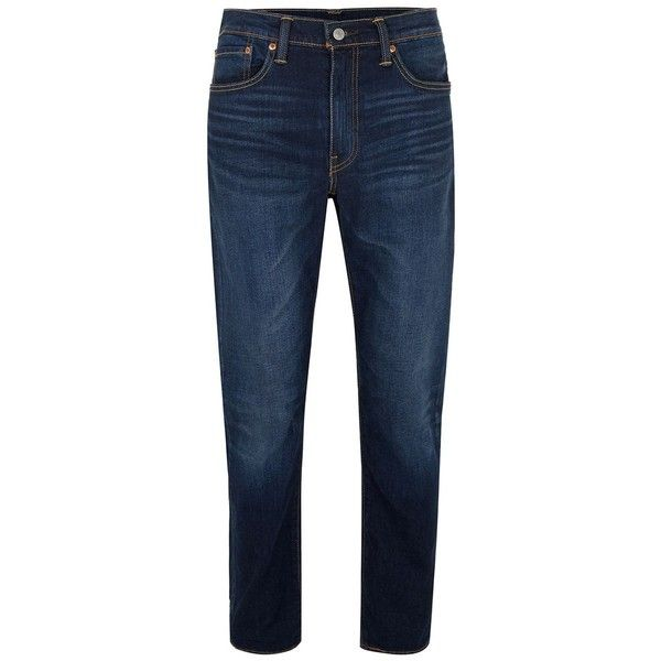 TOPMAN LEVI'S 502 Regular Tapered Jeans ($55) ❤ liked on Polyvore featuring men's fashion, men's clothing, men's jeans, blue, mens zipper jeans, topman mens jeans, mens tapered jeans, mens blue jeans and mens slim fit tapered jeans