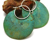 Beautiful patina... verdigris bronze and silver: Jewelry Diy'S, Beauty Patinas, Verdigri Bronze, Earrings Bronze, Copper Jewelry, Beautiful Patinas, Earrings Fetish, Jewelry Idea, Handmade Jewelry