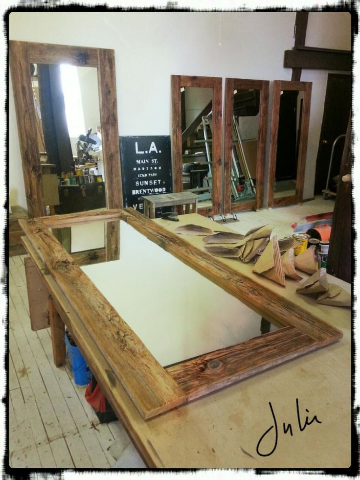 miroir en bois de grange barnwood mirror miroir bois de
