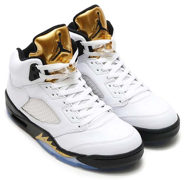 NIKE AIR JORDAN 5 RETRO OLYMPIC [WHITE / BLACK-METALLIC GOLD COIN] 136027