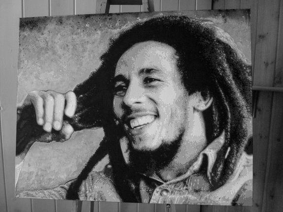 Bob Marley, By Chantella Viala 24x30 Acrylic Paint and watercolor