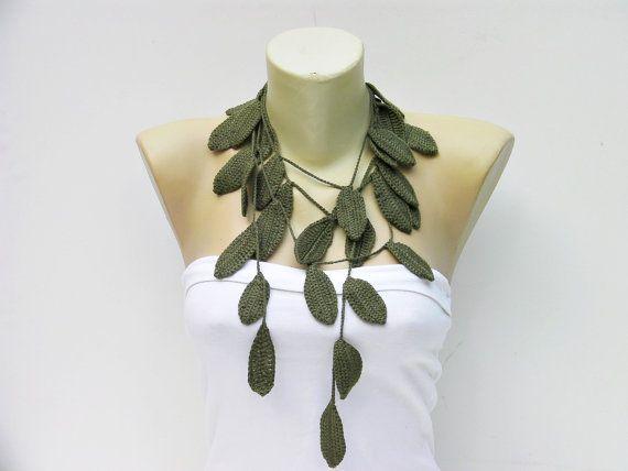 Crochet leaf  jewelry /crochet pendant / crochet by SenaShop, $19.90